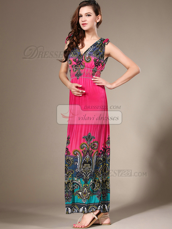 Sheath Straps Ankle-length Chiffon Print Maxi Dresses