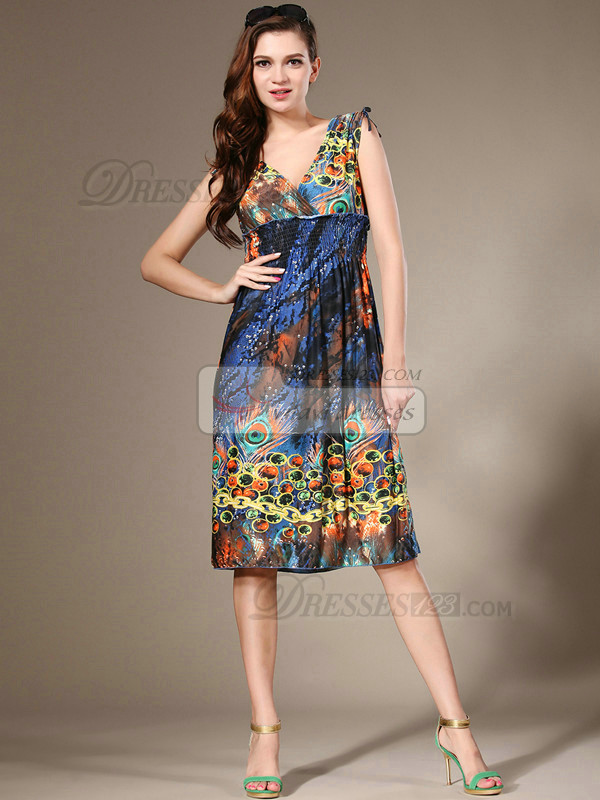 Sheath V-neck Knee-length Chiffon Print Royal Blue Prom Dresses