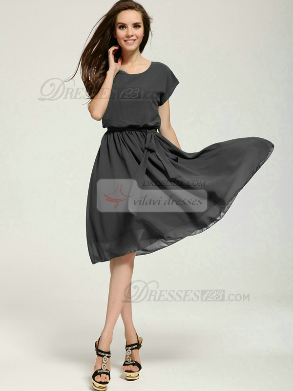 A-line Knee-length Chiffon Sashes Silver Prom Dresses With Asymmetrical Collar