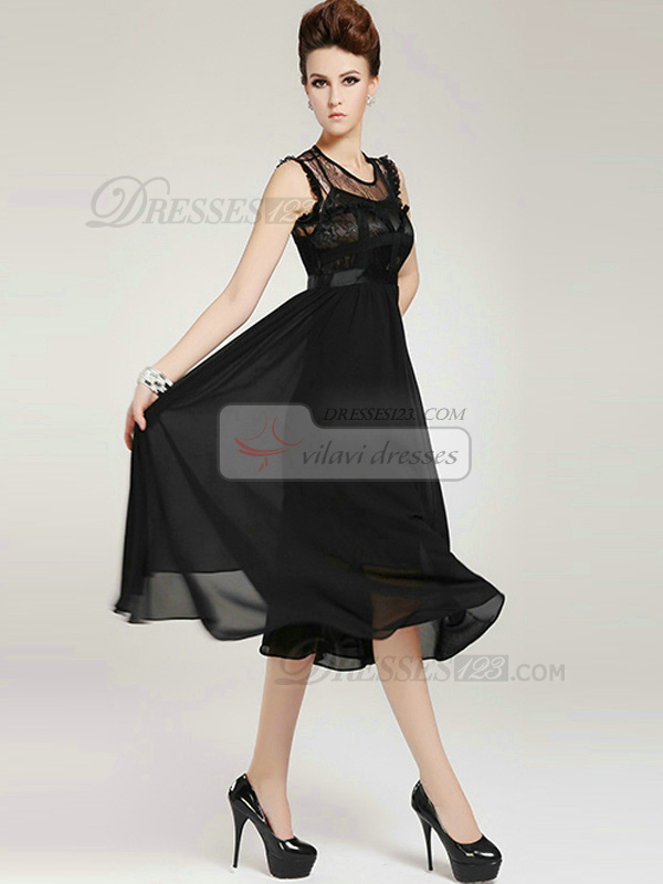 Column Semi Transparent Tea-length Chiffon Lace Black Prom Dresses
