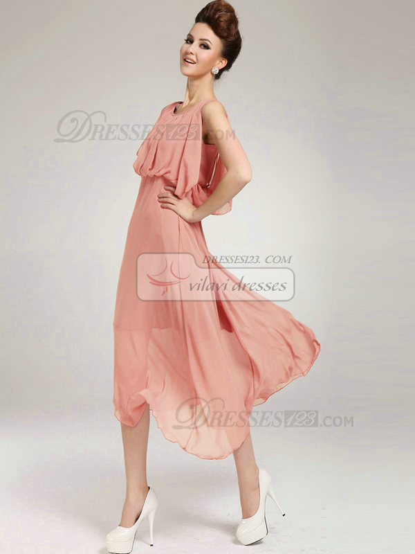 Column Round Brought Tea-length Chiffon Pink Prom Dresses