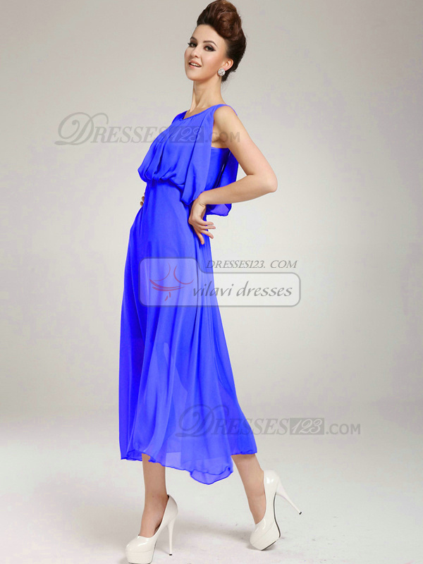Column Round Brought Tea-length Chiffon Royal Blue Prom Dresses