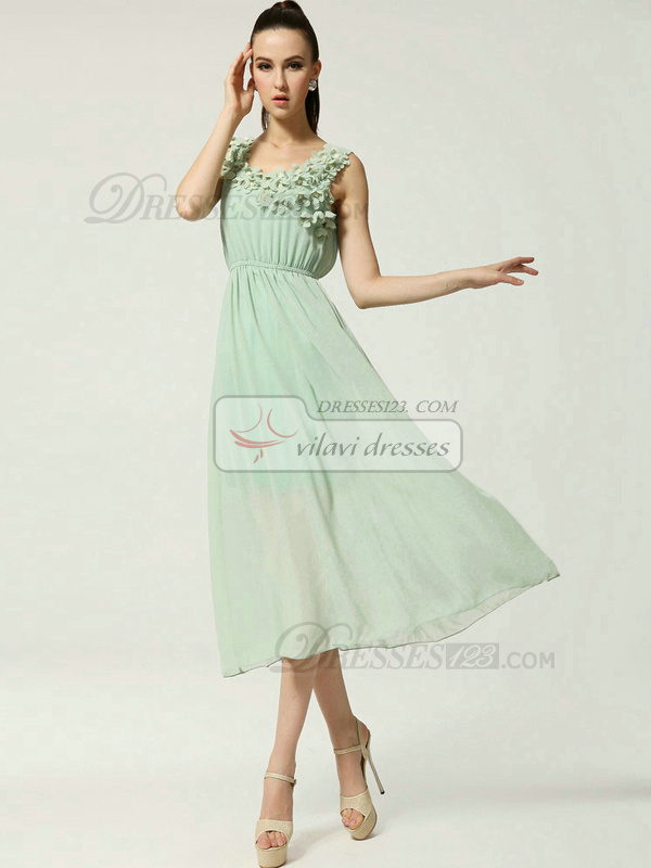 Column Scoop Tea-length Chiffon Flower Sage Prom Dresses