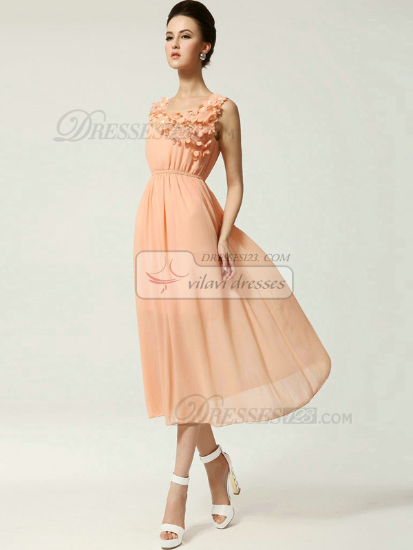 Column Scoop Tea-length Chiffon Flower Pink Prom Dresses