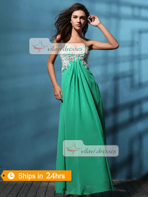 Elegant Sheath/Column Chiffon Sweetheart Appliques Prom/Evening Dresses