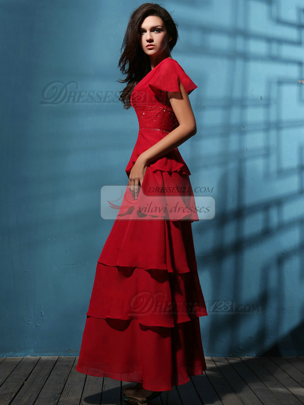 Retro A-line Bateau Floor-length Tiered Evening Dresses
