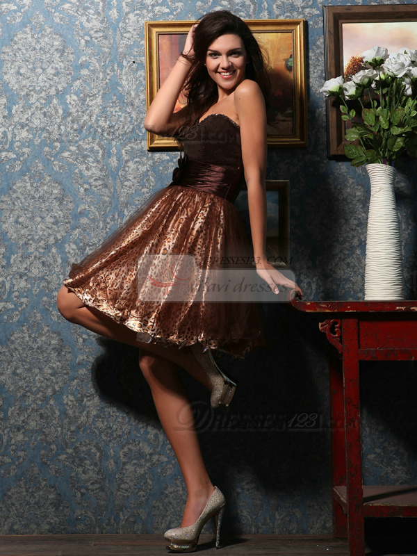 Fantasy A-line Tulle Short/Mini Print Cocktail/Homecoming Dresses