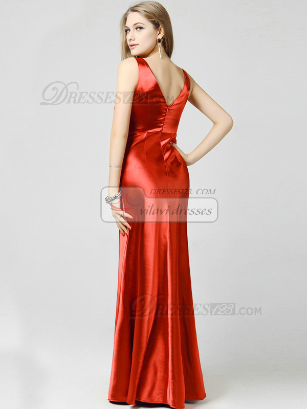 Column V-neck Floor-length Elastic Silk Like Satin Rhinestone Evening Dresses