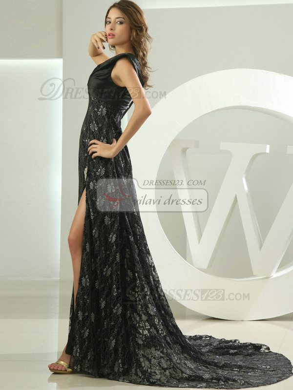 Stunning A-line V-neck Court Train Lace Prom Dresses