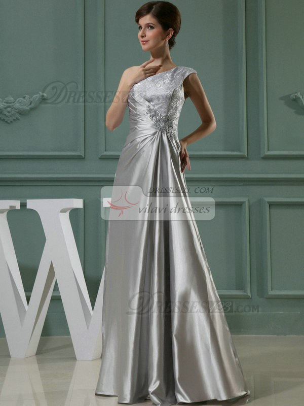 Happiness Sheath/Column One shoulder Floor-length Lace Evening Dresses