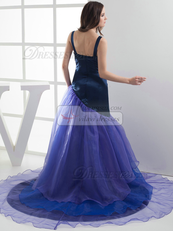 Precious Over Hip Elastic Silk-like Satin Straps Draped Evening Dresses