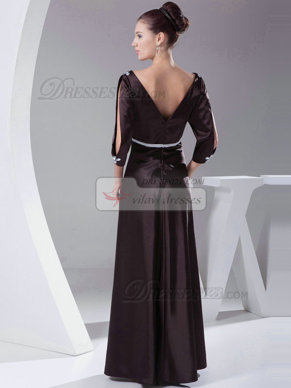Glamorous Sheath/Column Elastic Silk-like Satin V-neck Floor-length Evening Dresses