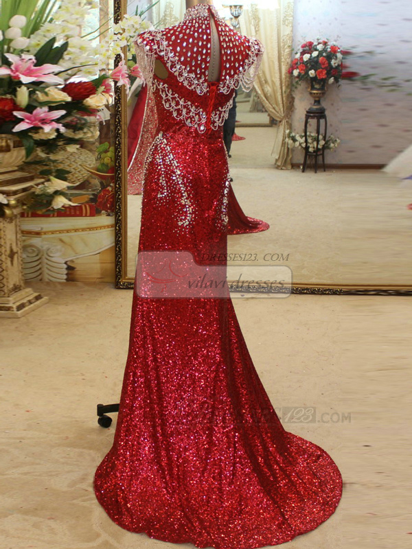 Column Jewelry Sleeves High Neck Brush Train Sequined Crystal Open Back Prom Dresses