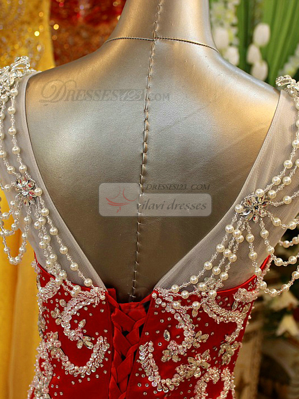 Mermaid V-neck Brush Train Elastic Silk-like Satin Beading Straps Prom Dresses