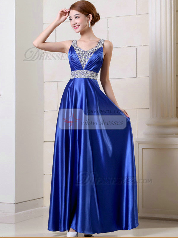 Column Scoop Floor-length Elastic Silk-like Satin Sequin Prom Dresses