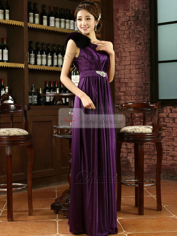 Column One Shoulder Floor-length Elastic Silk-like Satin Evening Dresses With Crystal