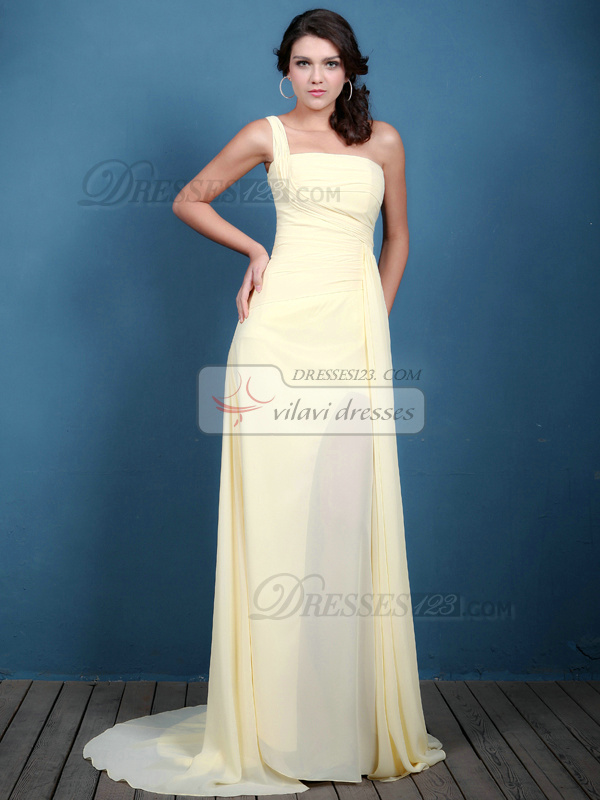 Elegant A-line Chiffon One shoulder Sweep Evening Dresses