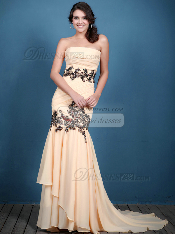 Excellent Mermaid/Trumpet Chiffon Sweep Crystal Evening Dresses