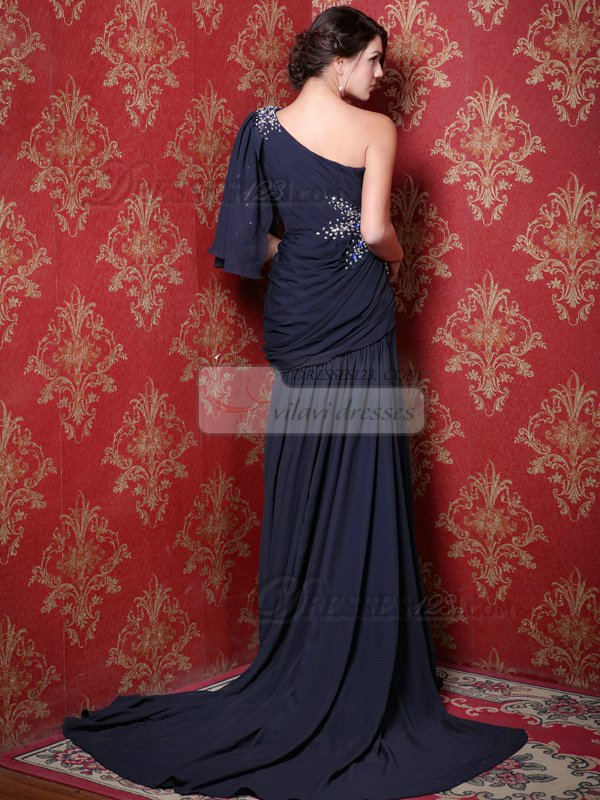 Astonishing Over Hip One shoulder Court Train Crystal Prom Dresses