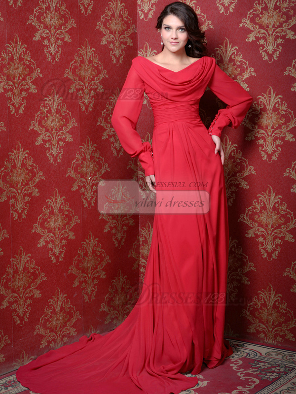 Great Sheath/Column V-neck Sweep Draped Prom Dresses