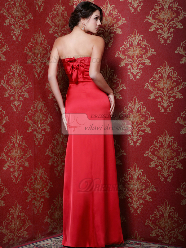 Awesome Sheath/Column Stretch Satin Strapless Floor-length Prom Dresses