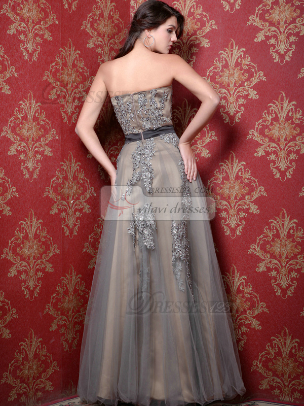 Impressive A-line Tulle Floor-length Appliques Evening Dresses