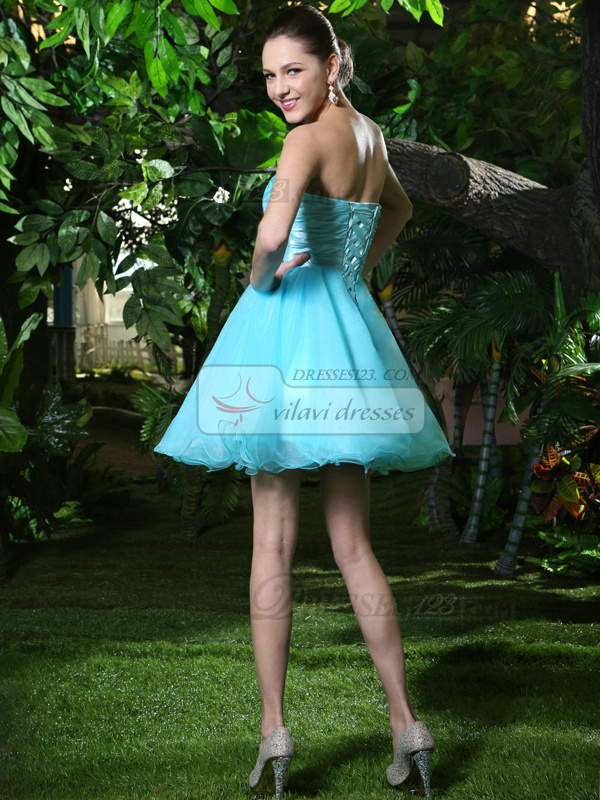 A-Line Short Blue Strapless Prom Dresses with Rhinestone