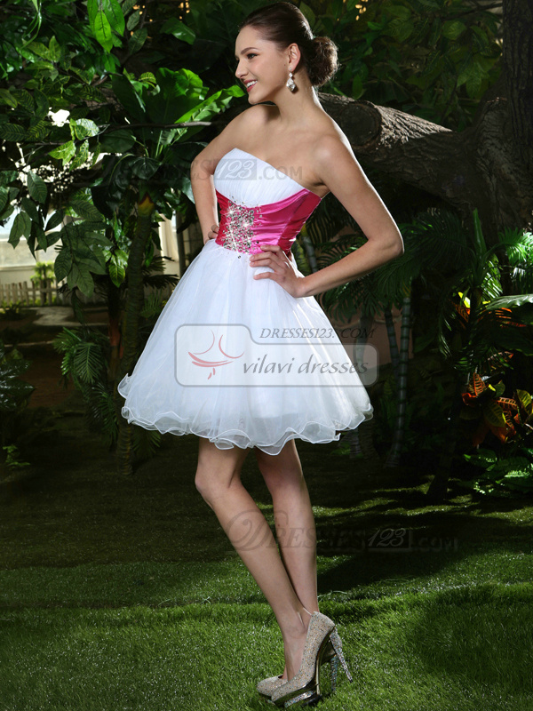 A-Line Short White And Pink Strapless Prom Dresses