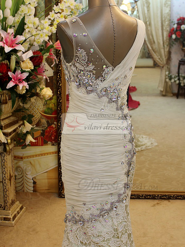Mermaid V-neck Crystal Sweep Train Lace Prom Dresses