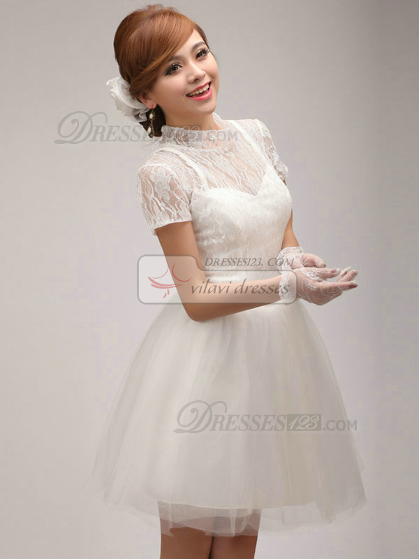Ball Gown High Neck Mini Lace Homecoming Dresses