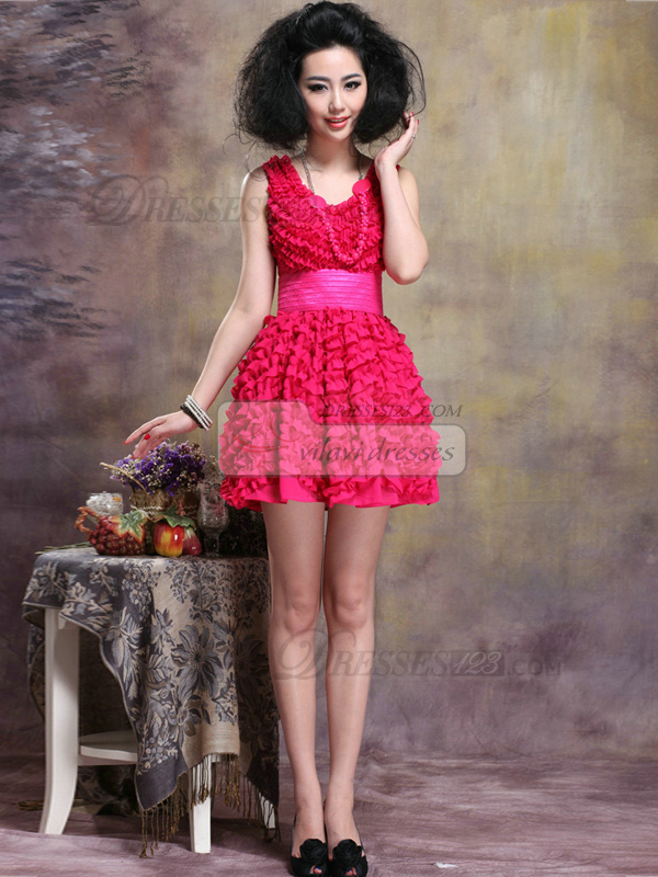 Ball Gown V-neck Mini Ruffle Homecoming Dresses