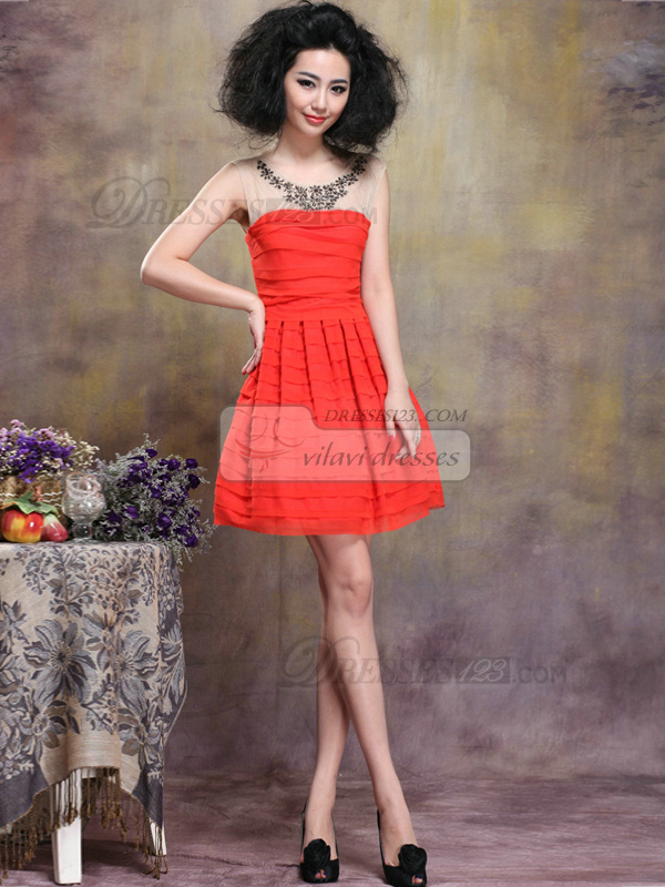 A-line Mini Scoop Chiffon Tiered Homecoming Dresses