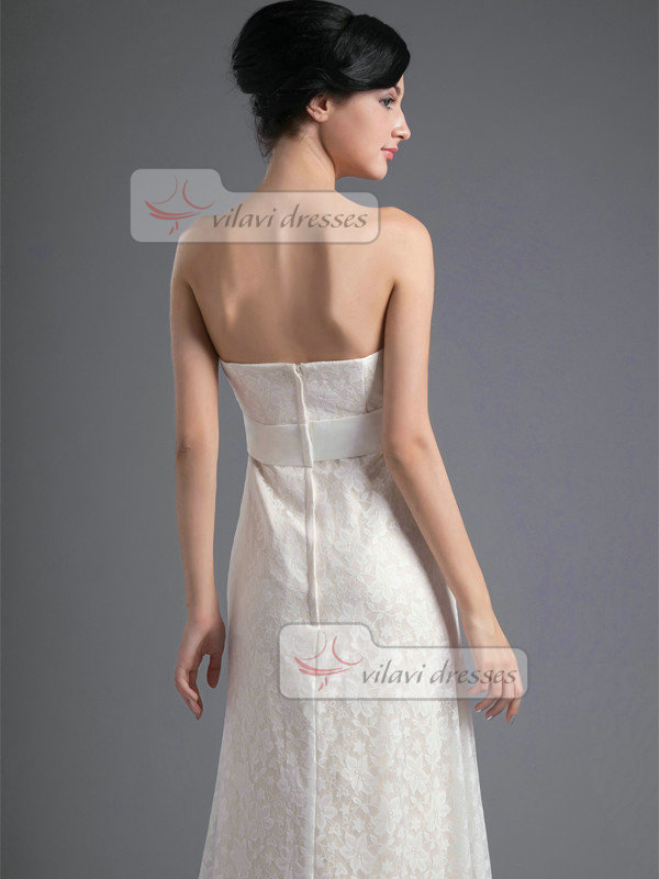A-line Tube Top Strapless Floor-length Lace Evening Dresses