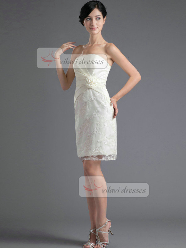 Column Tube Top Short Flower Beading Lace Homecoming Dresses