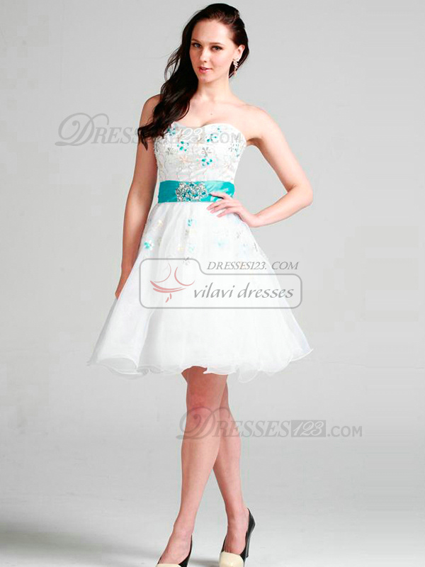 Happiness A-line Organza Short/Mini Sashes Cocktail/Graduation Dresses