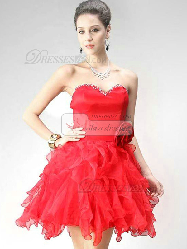 Impressive Ball Gown Organza Sweetheart Flower Cocktail/Sweet 16 Dresses