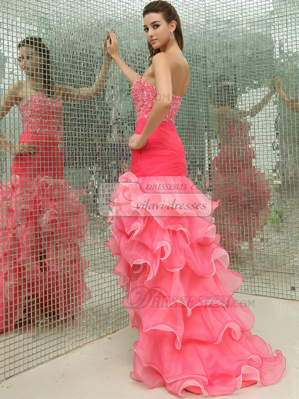 Excellent Mermaid/Trumpet Organza Sweep Cascading Ruffle Prom Dresses