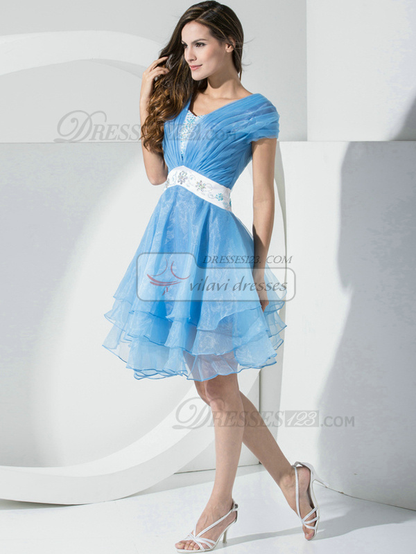Great A-line Organza Straps Crystal/Rhinestone Prom/Cocktail Dresses