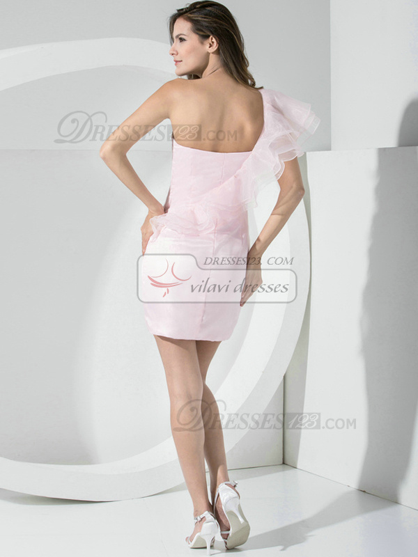 Surpassingly Beautiful Sheath Organza One shoulder Side-draped Bridesmaid Dresses