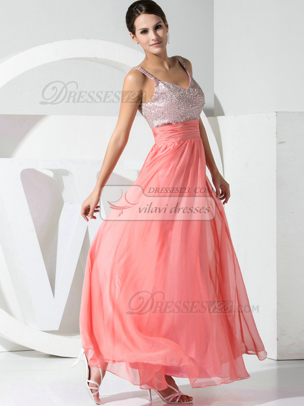 Awesome A-line Organza Straps Beading Evening/Prom Dresses