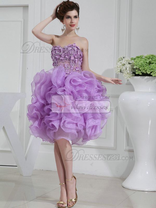 Stunning Ball Gown Organza Sweetheart Tea-length Prom Dresses