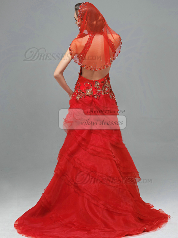 Over Hip High Neck Brush Train Organza Embroidery Backless Tiered Prom Dresses