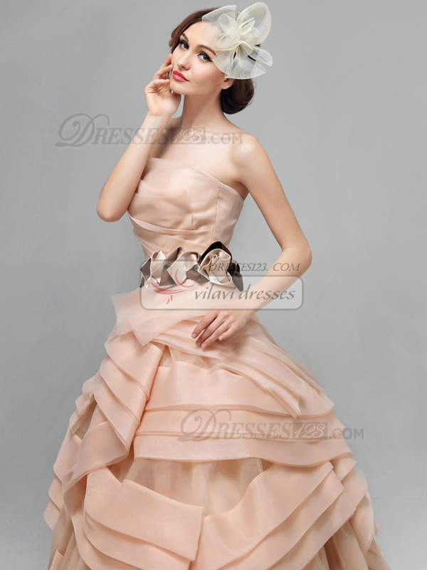 Princess Asymmetrical Collar Brush Train Organza Prom/Evening Dresses