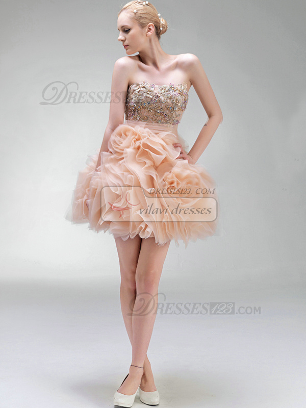 Ball Gown Strapless Mini Organza Beading Cocktail Dresses