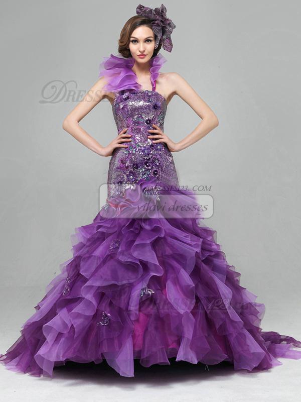 Mermaid Halter Brush Train Organza Sequin Ruffle Prom Dresses