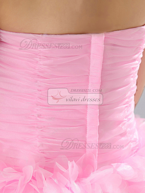 Princess Strapless Mini Organza Ruched Tiered Homecoming Dresses