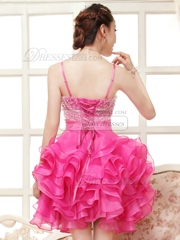 Princess Straps Short Organza Beading Rhinestone Tiered Homecoming Dresses