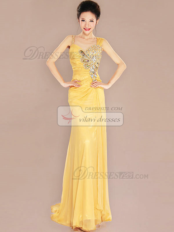 Over Hip Asymmetrical Collar Sweep Organza Crystal Prom Dresses
