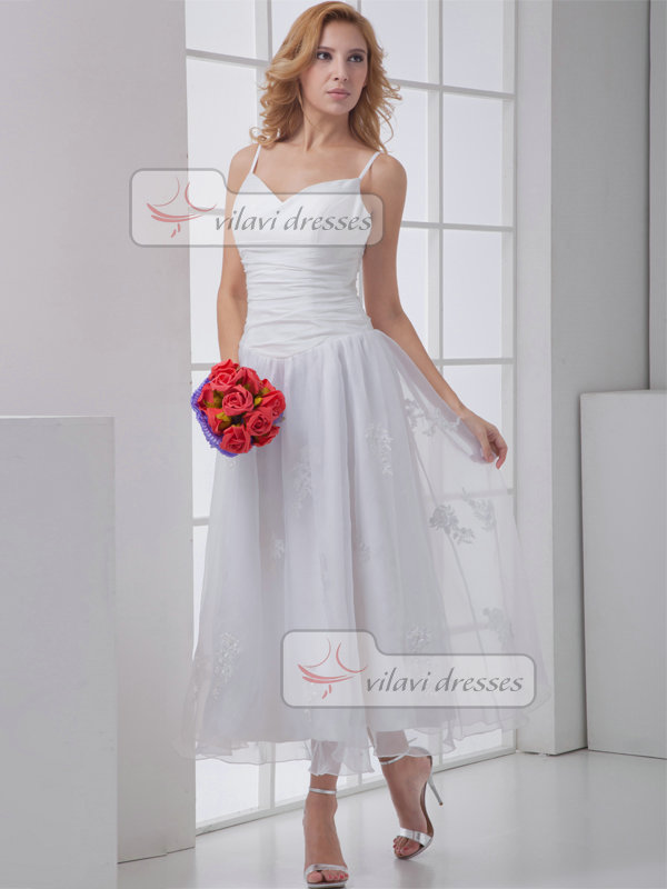 A-line V-neck Spaghetti Straps Tea-length Organza Homecoming Dresses