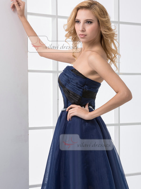 A-line Sweetheart Tea-length Organza Crystal Side Split Prom Dresses